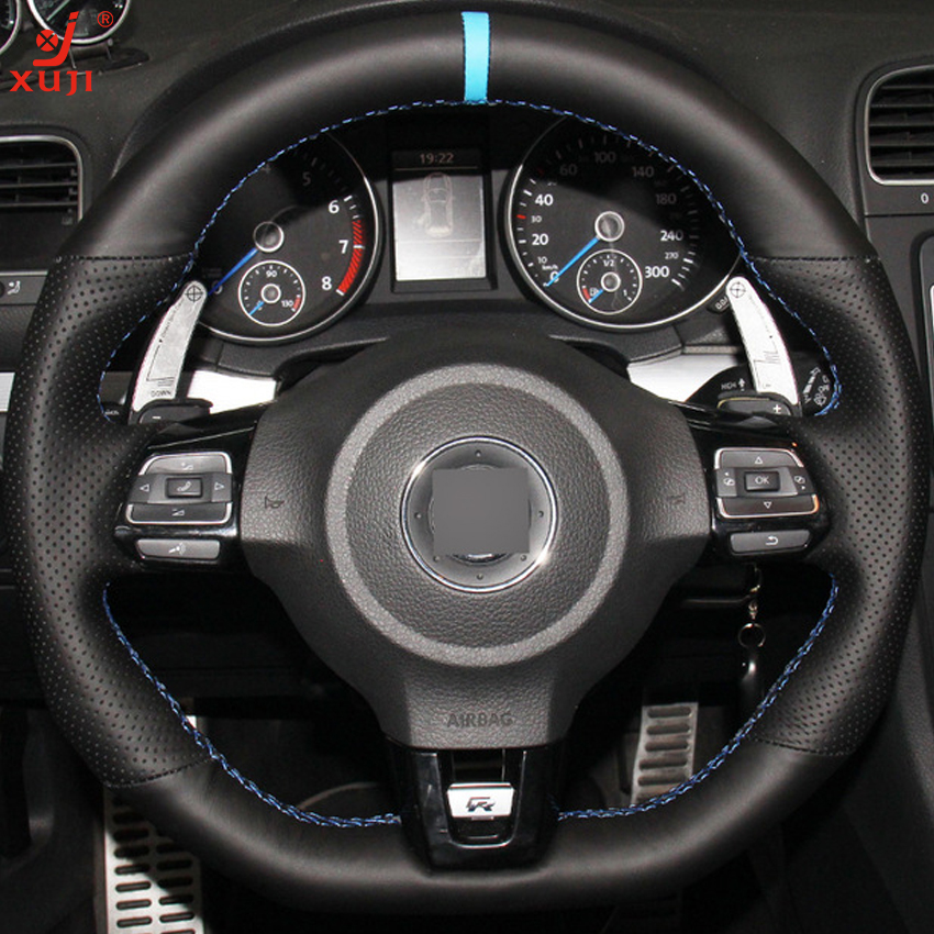 xuji hand stitched black genuine leather car steering wheel cover for volkswagen golf 6 gti mk6. Black Bedroom Furniture Sets. Home Design Ideas