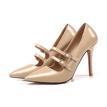 2018 Brand New Elegant Black Apricot Red Women Glossy Formal Pumps High Heels Lady Nude Shoes EK010 Plus Big Size Small 10 47 30