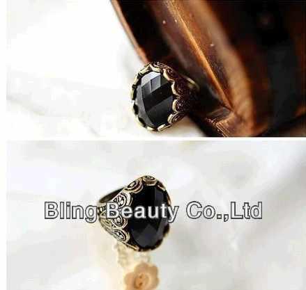 Nj44 2016新しいファッション熱い販売〜卸売ファッション刻まれた黒い宝石リングレトロ人格リング送料無料