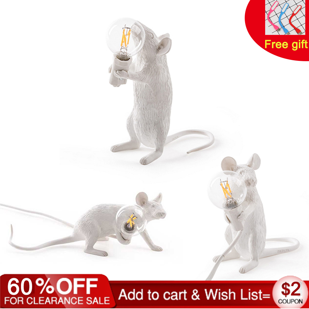 3 Styles Resin Mouse Lamp American Country Individual Creative Bedroom Bedside Study Room Desk Decoration Small Mouse Table Lamp
