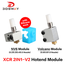 3DSWAY 3D Printer Part XCR 2IN1-V2 Hotend Module NV6 Heating Block with Silicone sock Throat Nozzle Kit Volcano 0.2-1.0/1.75 1pc