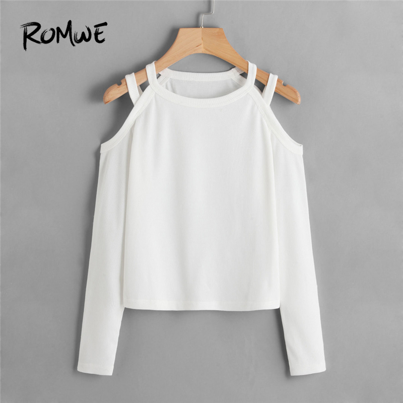 6d892ce4f0fc ROMWE White Pocket V Neck Lace Up Back Texture Knit Sweater Women ...
