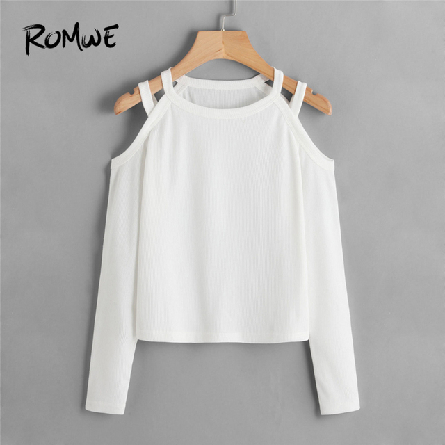 e1a06289271 ROMWE White T Shirt Women Cold Shoulder Ribbed Tee Shirt Femme 2019 Autumn  Womens Clothing Casual Ladies Tops Long Sleeve Shirts