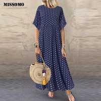 MISSOMO 5XL Kleid Frauen vintage Oansatz lange maxi kleid Dot Peinted Casual sommer Kleid strand boho kleider vestidos robe 79