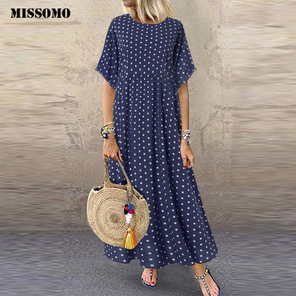 MISSOMO 5XL robe femmes vintage col rond longue robe maxi Dot Peinted décontracté robe d'été plage boho robes vestidos robe 79