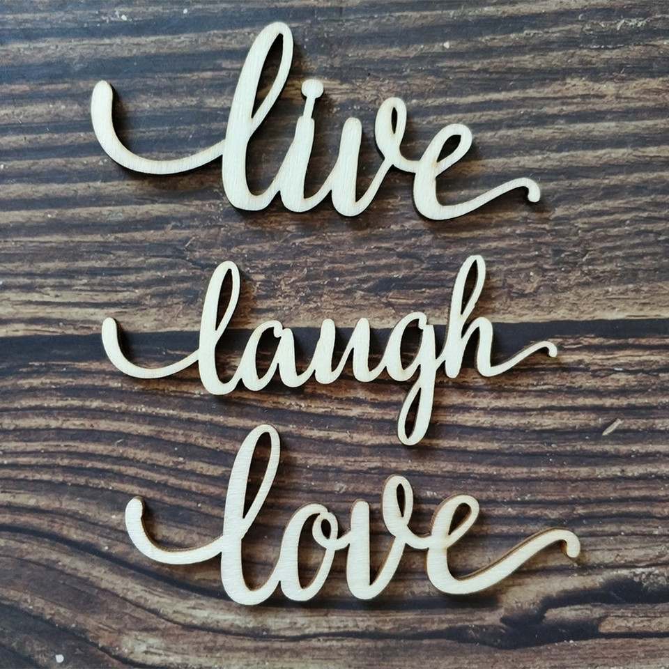 US $23.23 23pcs Live Laugh Love Wood Laser Cut Sign Art Wall Decor Live  Laugh Love Decoration Quote Sign Wooden Anniversary Wedding DecorParty DIY