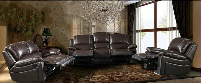 Recliner Sofa Set Modern Design 123 Sectional Sofas Reclining Chair With  Shake Retation Function Genuine Leather