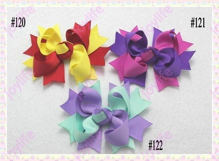 220 шт двухцветный Бутик банты волосов 3,5 ''для маленьких девочек бант волосы Популярный девочек заколки для волос Разноцветные