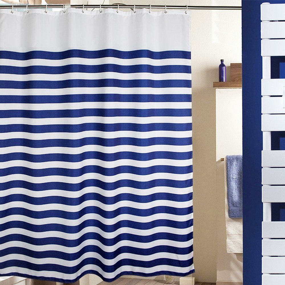 MangGou Fabric Shower CurtainNautical Stripes Curtain Liner Waterproof Polyester Bathroom With 12 Hooks