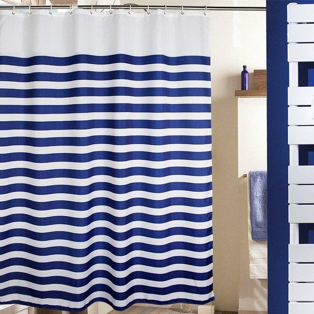 MangGou Fabric Shower CurtainNautical Stripes Curtain LinerWaterproof Polyester Bathroom With 12 Hooks