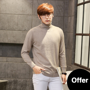 2019 New Autumn And Winter Thickening 100% Cashmere Sweater Men's High Collar Pullover Long Sleeve Solid Color Wool