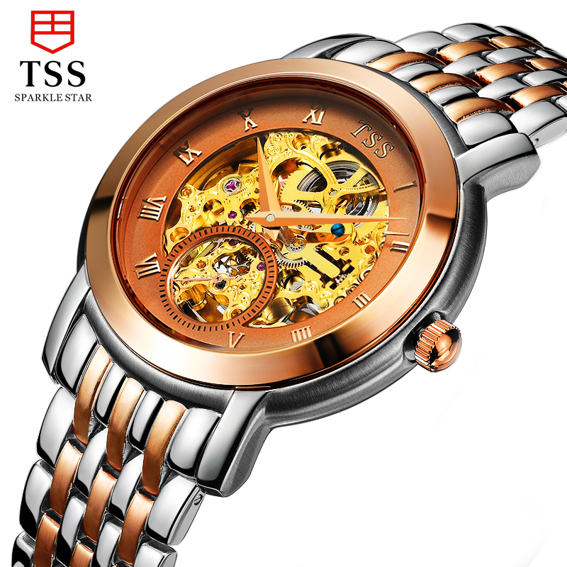 HOT 2016 tss Rose Gold watch men skeleton Stainless steel Automatic mechanical Sapphire glass waterproof watch