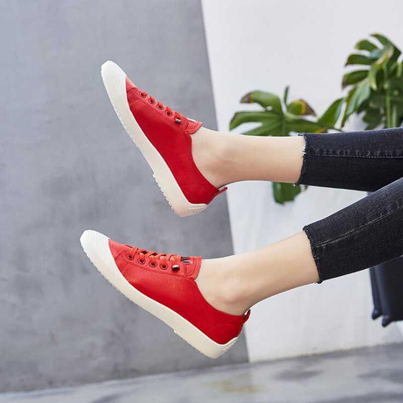 Hakiki deri sivri burun ayakkabı ayakkabı kadın dantel-up rahat ayakkabılar ilkbahar ve sonbahar düz loafer ayakkabılar ayakkabı c696