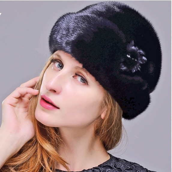 HM024 women's winter hats Real genuine mink  fur hat  winter women's warm caps whole piece mink fur hats mink skullies beanies hats knitted hat women 5pcs lot 2299