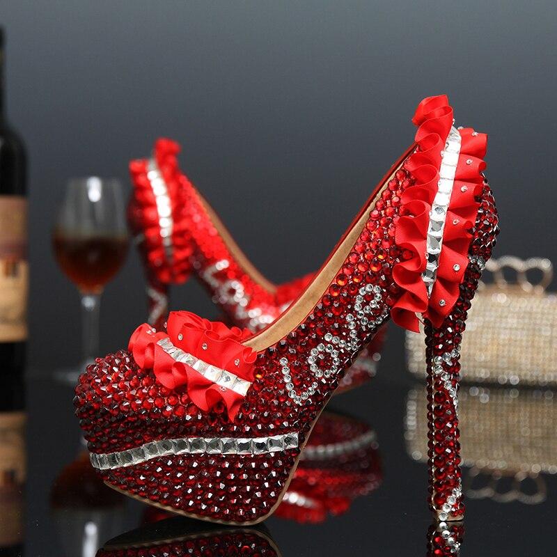 2018 г.; Роскошные модные Форма красный со стразами обувь для невесты Cusstomized Свадебная обувь Лодочки на платформе на высоком каблуке свадебные