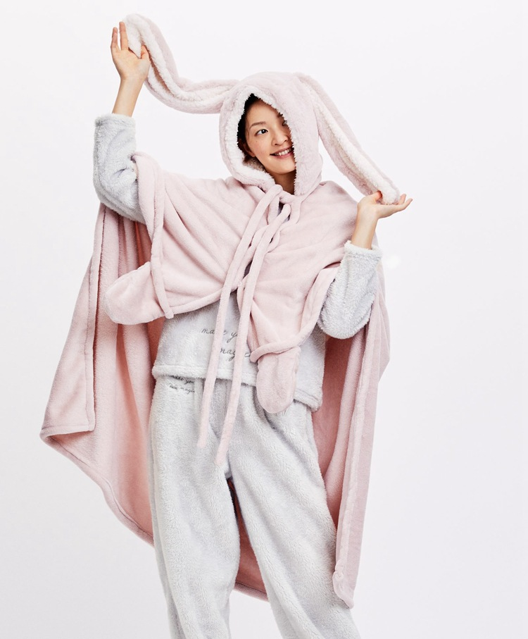 Cute Pink Comfy Blanket Sweatshirt Winter Warm Adults and Children Rabbit Ear Hooded Fleece Blanket Sleepwear Huge Bed Blankets 9