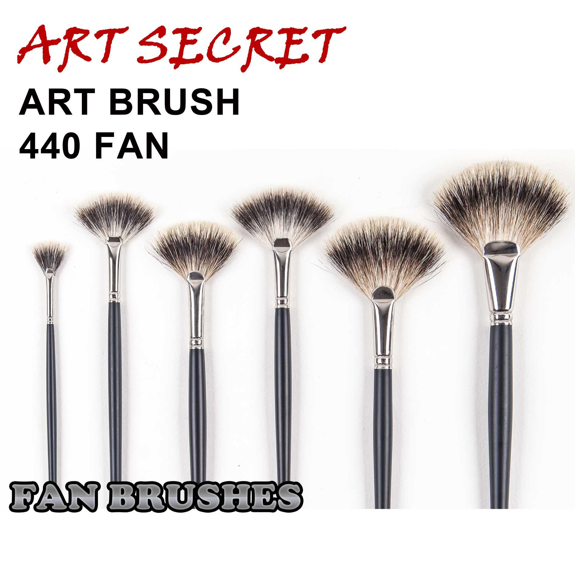 High Quality 440FAN Wooden Handle Badger Hair Acrylic Oil Paint Art Brush