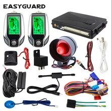 EASYGUARD, 2 способа, Автомобильная сигнализация, pke, без ключа, ЖК-дисплей, пейджер, вибрационная сигнализация, универсальная, автомобильная, автоматическая, без ключа, система входа, dc12v