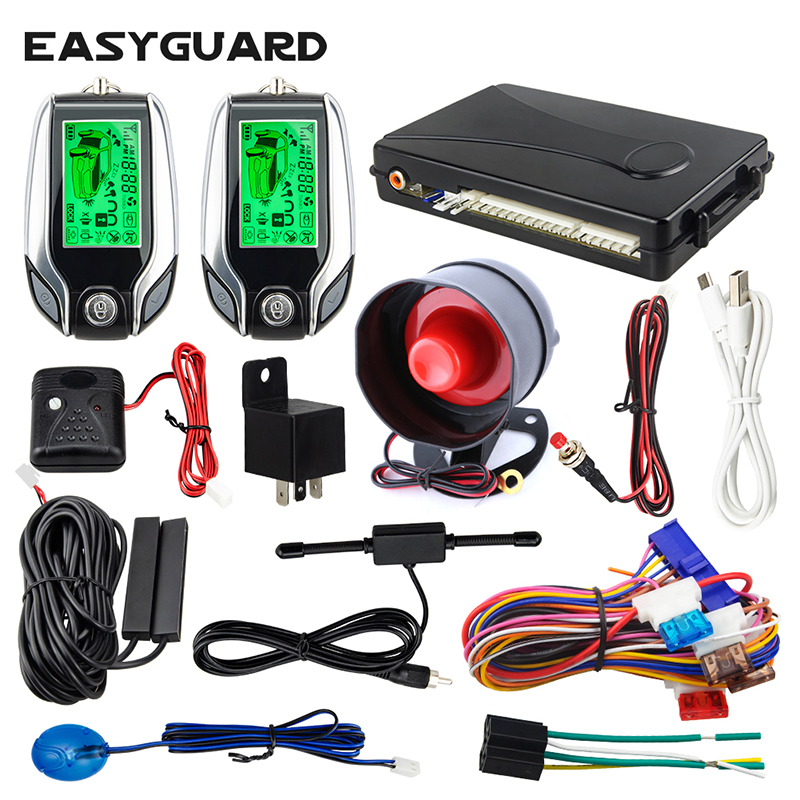 EASYGUARD EC203 2way carro Ultrasonic sensor de aviso de advertência sensor de choque de alarme anti-roubo display LCD pager remoto liberação do tronco