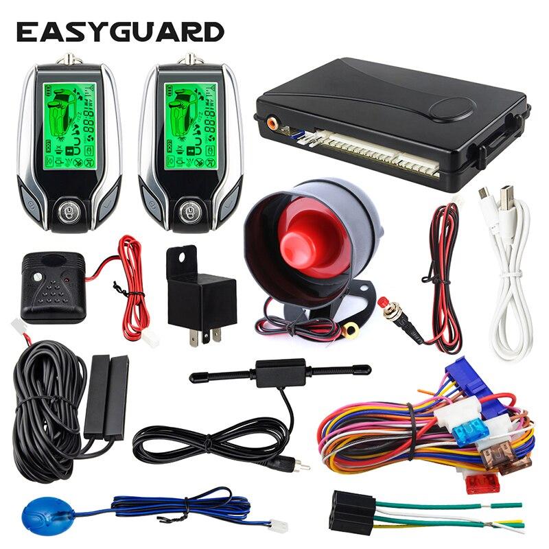 EASYGUARD EC203 2way voiture alarme antivol capteur à ultrasons avertissement capteur de choc avertissement LCD pager affichage déverrouillage du coffre à distance