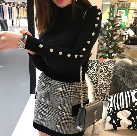 Fall Winter New 2019 Designer Suit Set Women s Long Sleeves Metal Lion Buttons Knitting Pullover