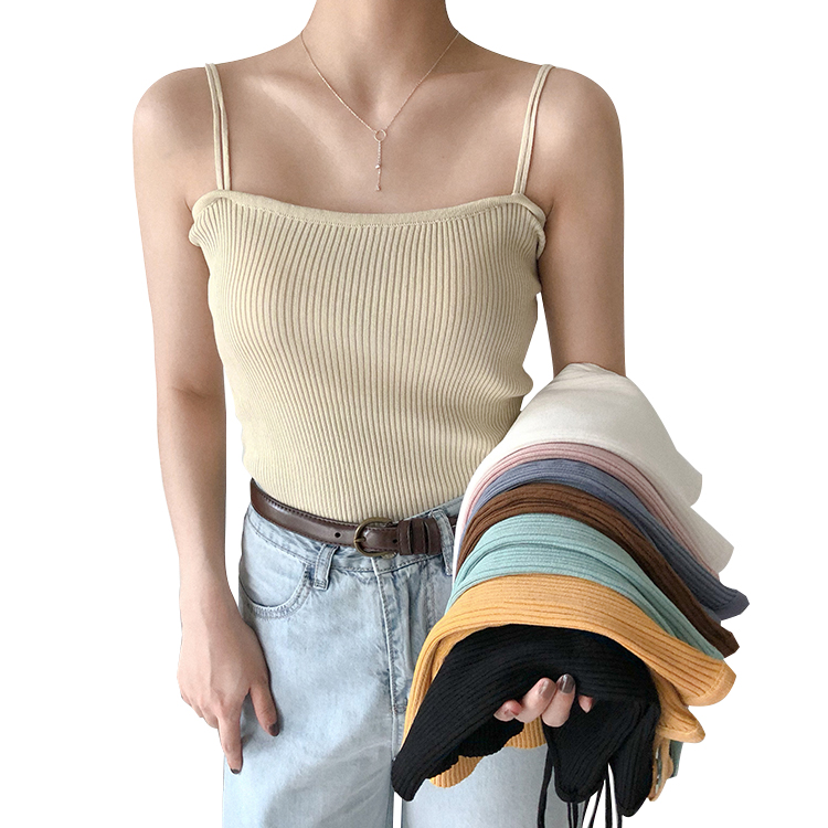 Summer Girls Slash Neck Knitted Solid Camis   Tops   Sleeveless Shirts Women Spaghetti Straps Camisoles   Tanks     Tops
