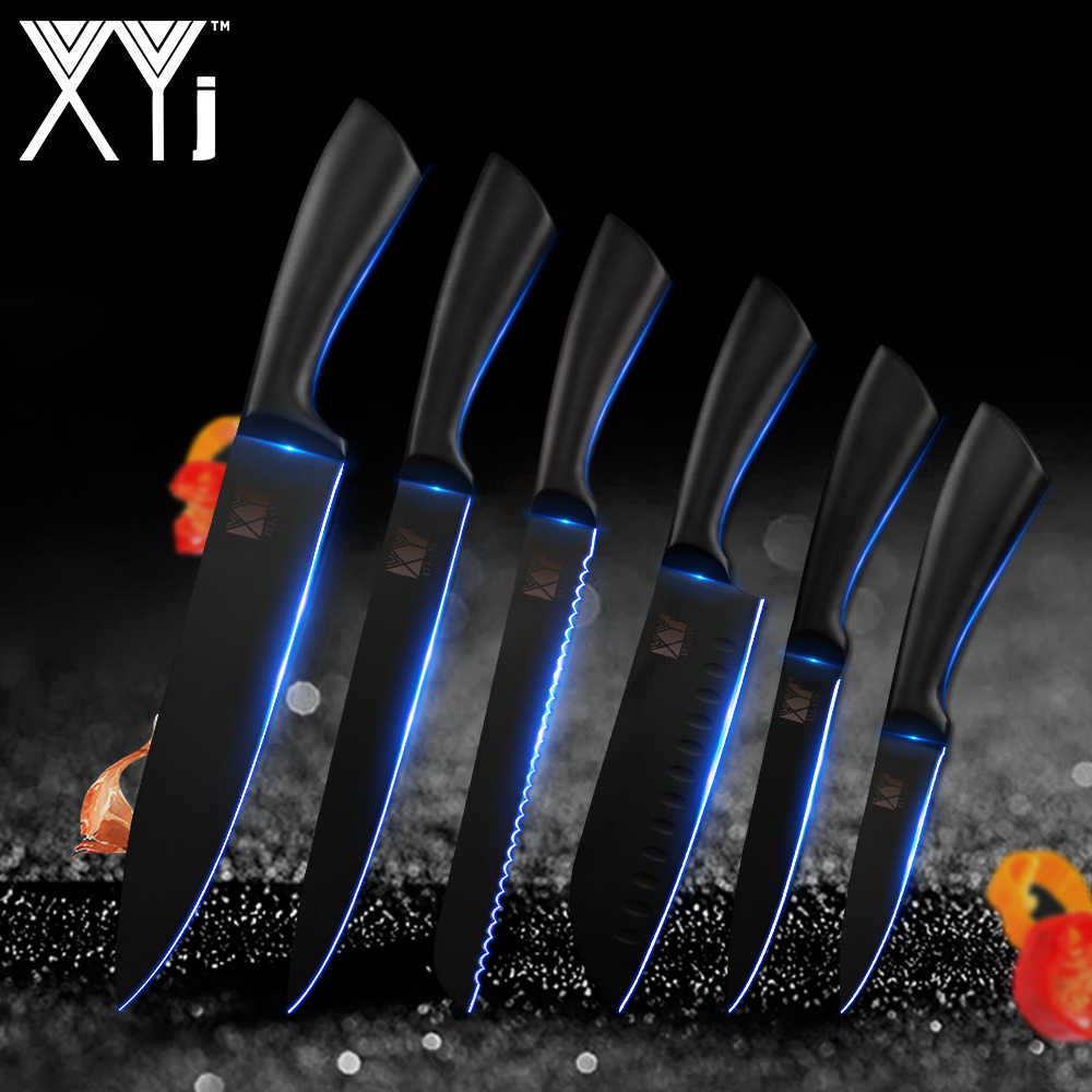 XYj Knife Tools Cutlery Kitchen Knives Sharpener Holder Block Scissors Stainless Steel Knife Japanese Cleaver Kitchen Supplies
