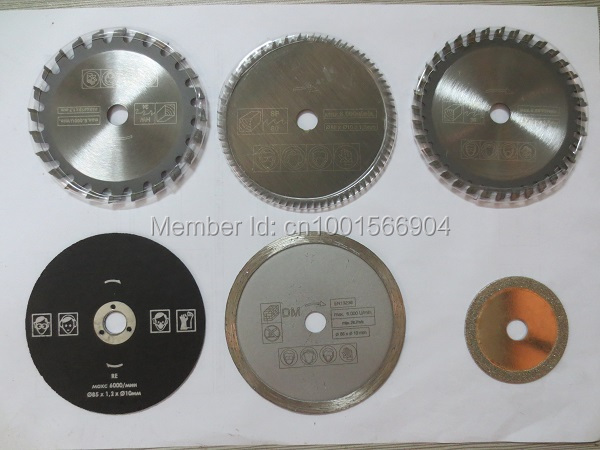 6pcs/set Accessories for mini electric circular saw, multi speed saw dick diameter 85mm, saw blade,Power tool accessory blades 10pcs lot 3 3 8 inch diamond blades for electric mini circular saw accessories for multi function mini saw inner dia 15mm