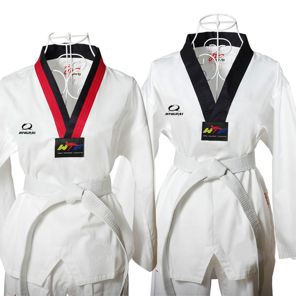 цена на 2016 Child Kids TKD cotton Dobok Taekwondo fitness training Uniform Half Long Sleeve kungfu Clothes WTF Approved dobok 110-150cm