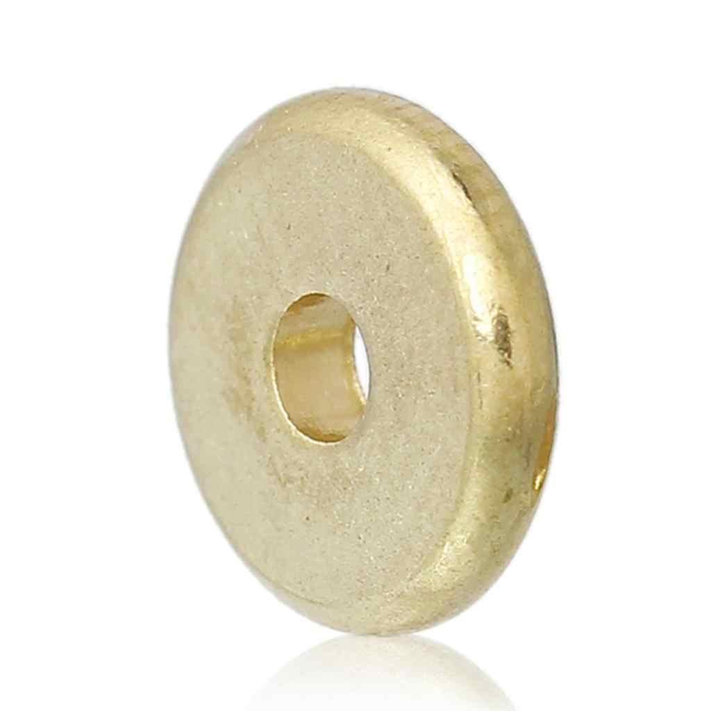 "Di rame Spacer Beads Flat Round Brass Blank Circa 8mm( 3/8 "") Dia, Foro: circa 1.9 millimetri, 15 PCs"