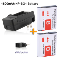 2x NP BG1 Battery NP FG1 NP BG1 Camera bateria + DC Charger with Eu adapter for Sony DSC W30 DSC W300 DSC W35 DSC W50 DSC W55