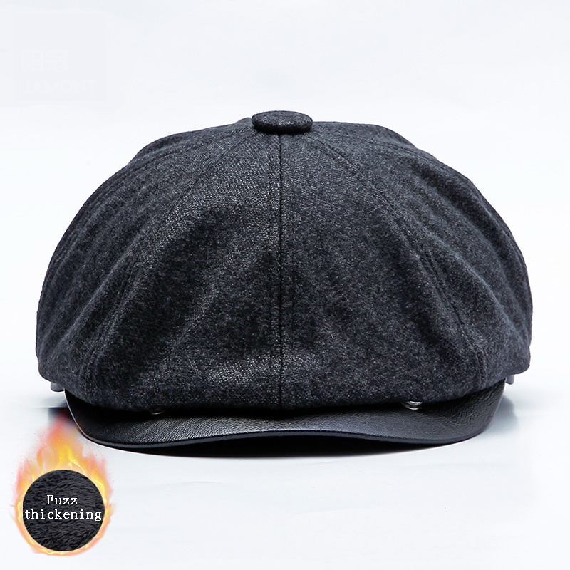 JAMONT 2018 New Autumn Winter Cap Warm Plus Velvet Newsboy Cap For Men Women Beret Vintage Bomber Hat Octagonal PU Caps Gorras