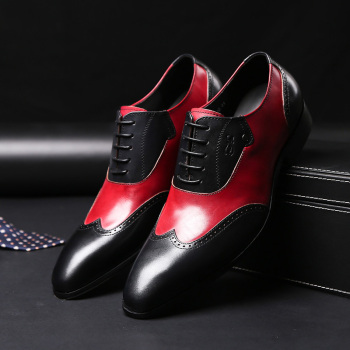 Black Red Fashion Design Genuine Leather Men Dress Shoes Casual Office Male Shoes Lace Up Pointed Toe Formal Business Shoes