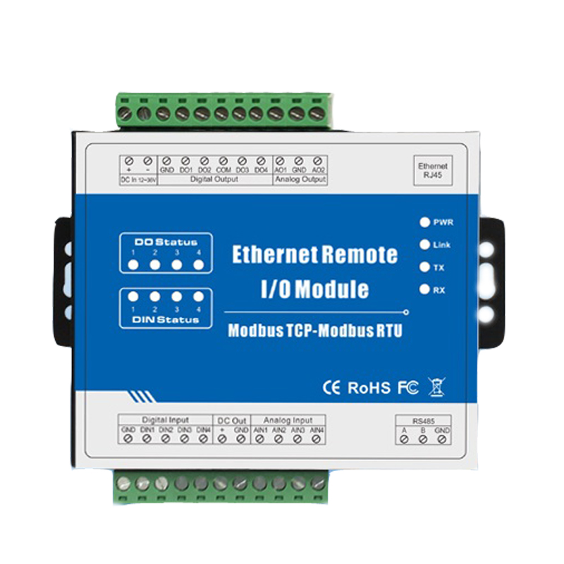M200T (2AO+RJ45+RS485)Modbus TCP Ethernet Remote IO Module IOT Solution Anti-reverse Protection Data Acquisition Unit 24-36V m410t 16di rj45 rs485 high speed pulse counter ethernet remote io iot module modbus tcp data acquisition module 16 din
