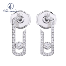 Slovecabin Fashion 925 Jewelry Sterling Silver Pure Love Pearl Vintage Earrings Crystal Move Zircon Jewelry Pave Drop Earring