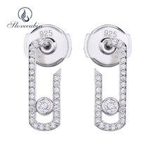 Slovecabin Mode 925 Sieraden Sterling Zilveren Pure Liefde Parel Vintage Oorbellen Crystal Bewegen Zirkoon Sieraden Pave Drop Earring