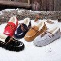 Новый Сплошной Цвет Мелкой Шнуровке Плюшевые Женская Обувь Зима Скольжения На Теплые Обувь женская Мокасины Плюс размер (35-40)