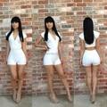 2014 nueva señora de la llegada de Sexy vestido ajustado blanco y negro Sexy cuello en v manga corta 2 unids trajes para mujeres de partido del Club del vendaje