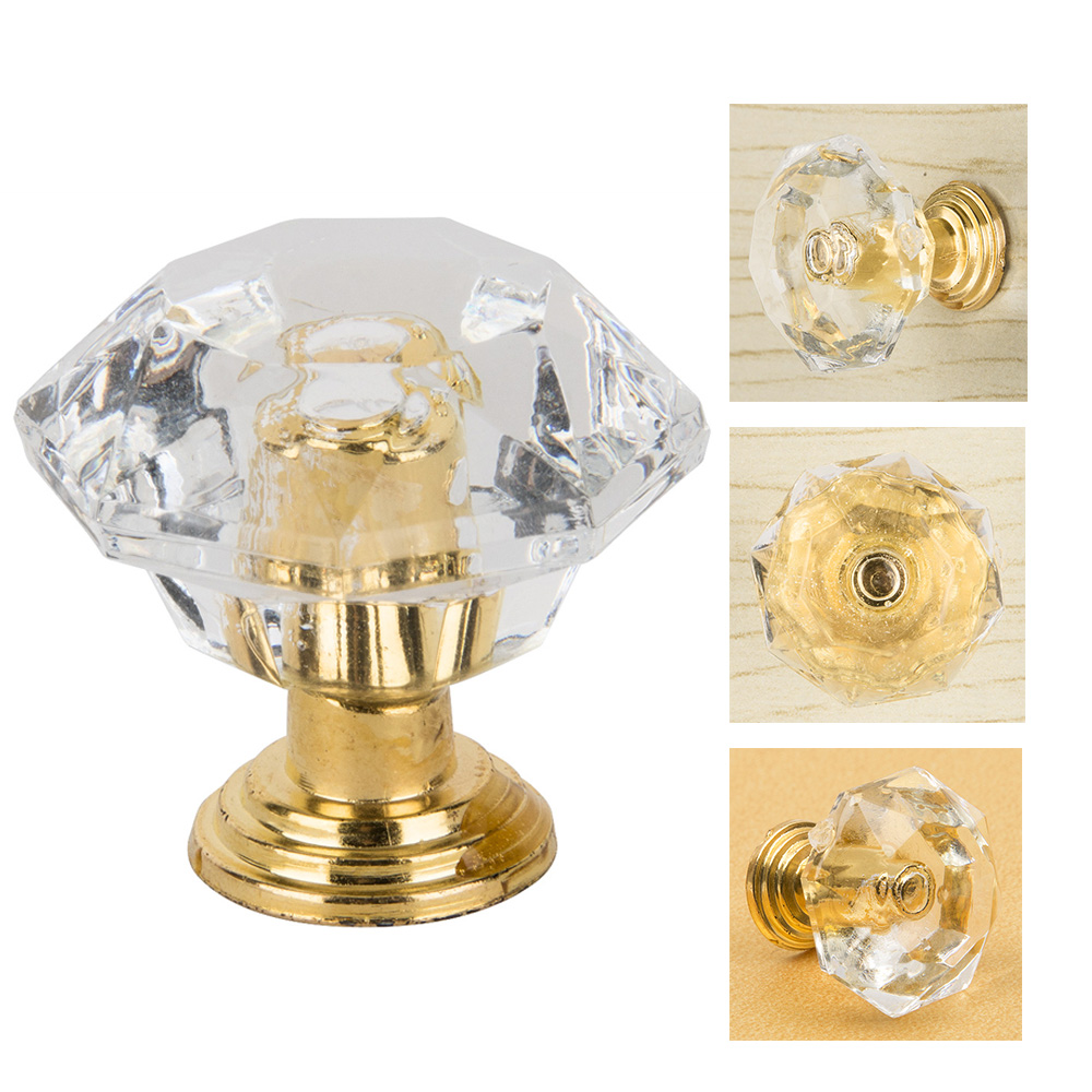 10pcs/set Drawer Furniture Knob Pull Handle Use for Knob Cupboard Cabinet Drawer Fittings  Gold Diamond Crystal Shape Acrylic american rural style chrome crystal handle for drawer cupboard square diamond knob high grade pull for furniture free shipping