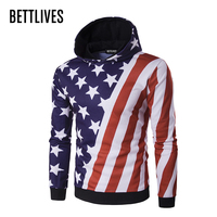 Fashion Harajuku Mens Hoodies Sweatshirt American Flag Striped Star Print Casual Hoodies Slim Hoody Pullovers Jacket