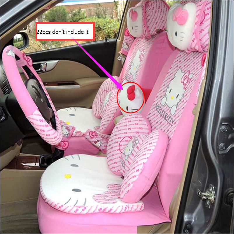 22pcs perfect styling universal hello kitty car seat covers set universal interior accessories. Black Bedroom Furniture Sets. Home Design Ideas