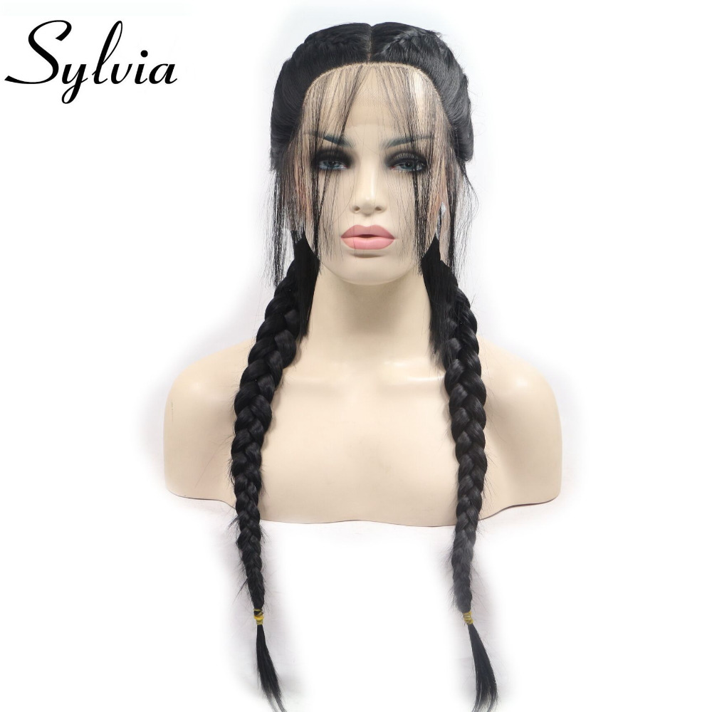 Sylvia Heat Resistant Fiber Hair Wig Ponytail Wig With Baby Hair Black Synthetic Lace Front Wigs For Women