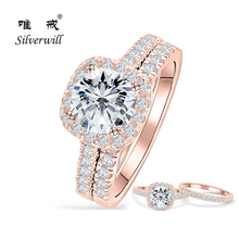 Silverwill sterling 925 silver engagement ring rose gold color 1.5 ct Moissanite rings for women wedding band 2pcs sets