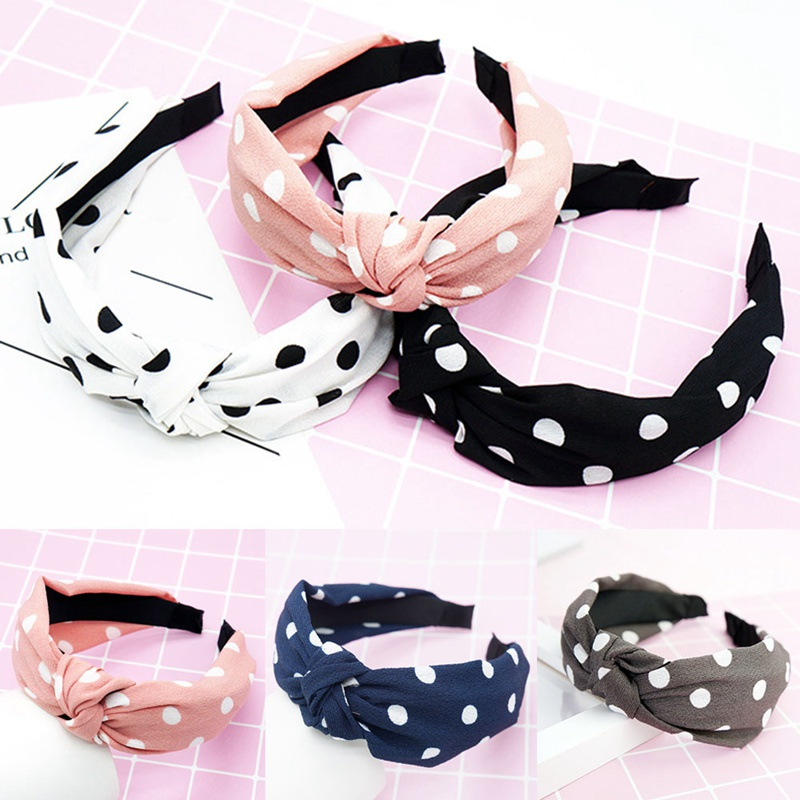New Knot Turban Polka Dot Headband Elastic Hairband Hair Accessories For Girls No Slip Stay On Knotted Head Band Hair Band