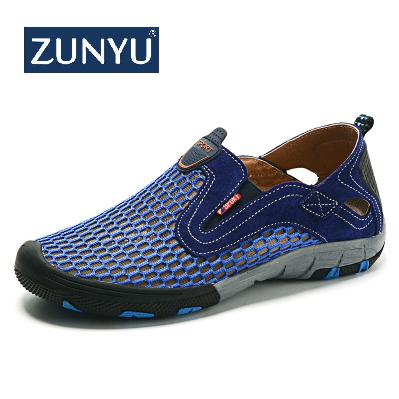 5df11de4333 ZUNYU 2019 Новая модная летняя обувь мужская повседневная яловая воздушная  сетка обувь на плоской подошве большой