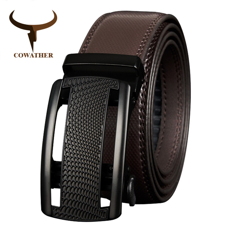 COWATHER Cow Genuine Leather Belts For Men High Quality Cowhide Leather Automatic Male Belt Vintage Metal Buckle Belt 110-130cm