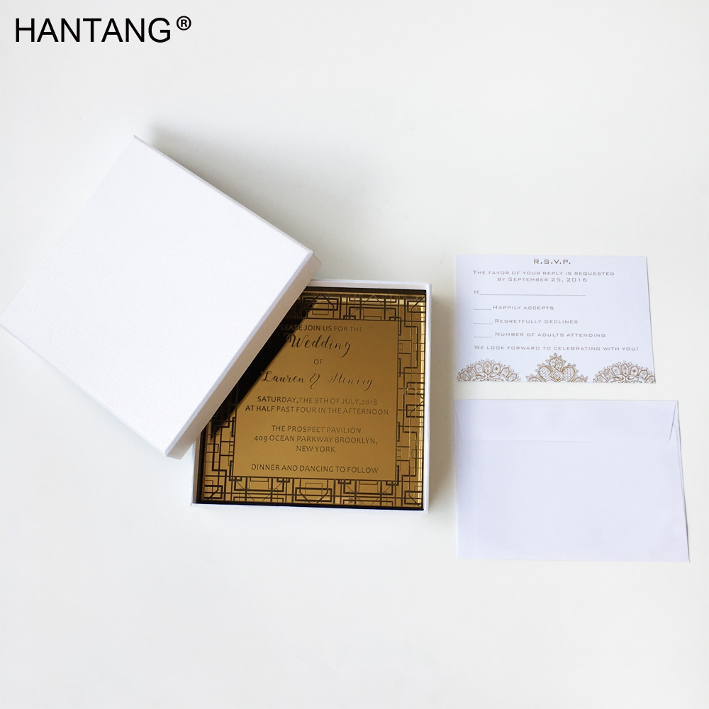 Us 620 0 Luxury Square Shape 150x150mm Engraved Golden Mirror Acrylic Wedding Invitation Card 100 Sets Per Lot In Cards Invitations From Home