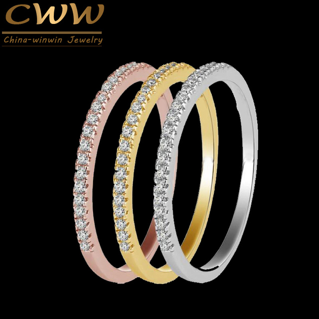CWWZircons 3 pcs Mix Colors Women CZ Stones Engagement Wedding Rings Set Rose Gold Color Fashion Famous Brand Ring Jewelry  R093