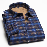 Men S Long Sleeved Shirt Warm Winter Shirt Male Self Cultivation Leisure Young Men S Plaid