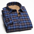 Men 's long - sleeved shirt warm winter shirt male self - cultivation leisure young men' s plaid winter velvet shirt